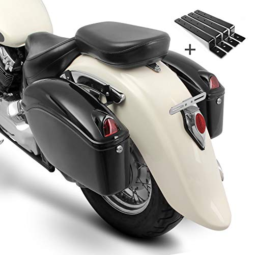 Alforjas rigidas (par) Moto Custom Nebraska 12l + Kit de Montaje Suzuki Intruder C/M 800, VL 125, 800 Volusia, VS...