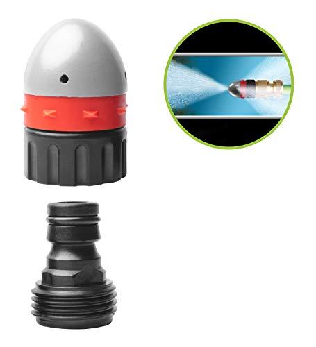 UPP Rohrreinigungsdüse mit Steckkupplung | Hochdruckdüse kriegt jeden Abfluss und jedes Rohr wieder frei | Passt auf jeden Gartenschlauch | Ideal auch für Toilette & Dachrinne