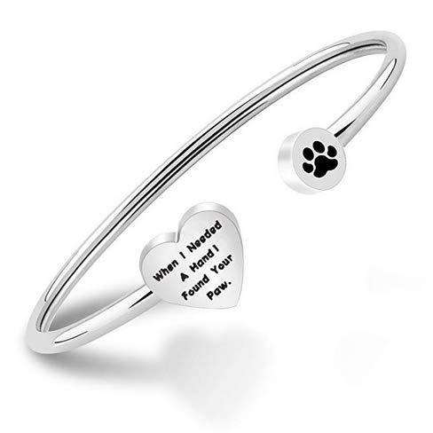 """Ensianth - Braccialetto rigido con impronta di zampa, per gli amanti dei cani con scritta """"When I Needed a Hand I Found Your Paw"""" e Acciaio inossidabile, colore: Argento, cod. NA"""