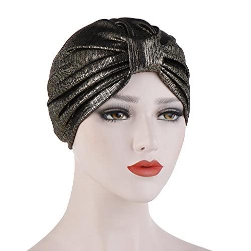 Gorras de turbante anudadas con purpurina para mujer, sombrero musulmán de oro y plata para mujer, gorra de quimioterapia lista para usar hijab (color: 3)