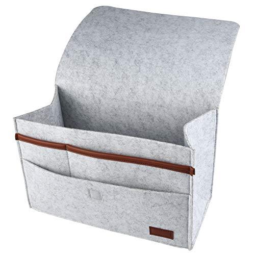 HOGAR AMO 2 in 1 Dicke Filz-Bett-Caddy-Organizer Betttasche Sofa Hängeaufbewahrung für Handy, iPad, Brille, Buch, Spielzeug, Fernbedienung, 31.5x15cm Grau