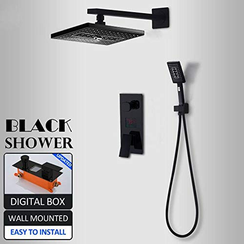 HSIYE Duschset Schwarz LED Digital Duscharmaturen Set 3-Wege Rainfal Shower 2-Funktions-LED-Digitalanzeige Mischbatterie Unterputz Bad Dusche