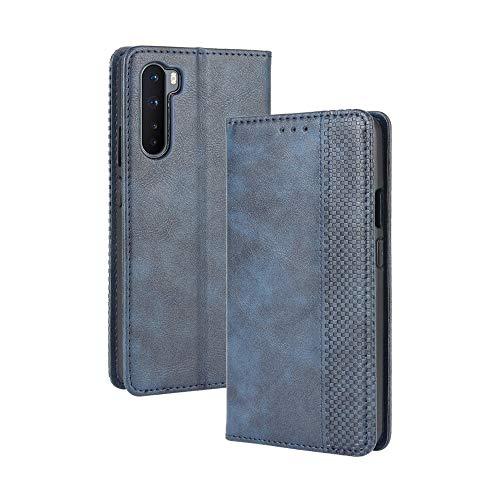 VGANA Tasche Hülle für Oneplus Nord 5G, Brieftasche Handyhülle Retro Muster mit Magnetverschluss & Ständer Funktion Schutzhülle. Blau
