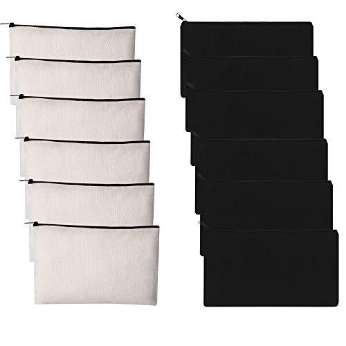 12 PCS Canvas Makeup Bags Canvas Zipper Pouch Bags Pencil Case Blank DIY Craft Bags Cosmetic Pouch