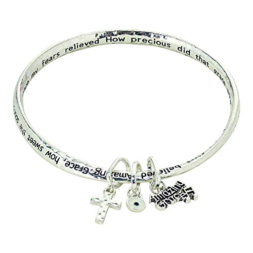 Dicksons Amazing Grace Note Cross Mobius Silver Plated One Size Metal Bangle Bracelet