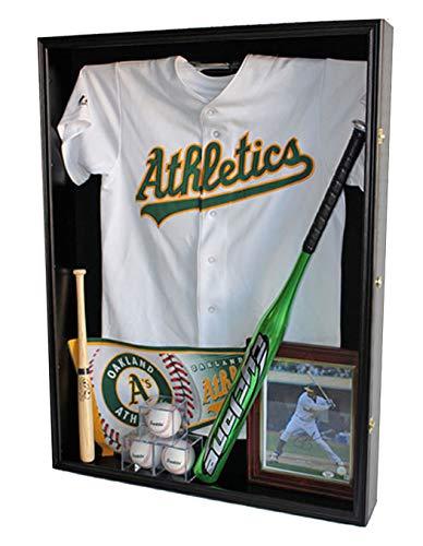 Extra Deep Jacket, Military Uniform, Sport Jersey Shadow Box Display Case Cabinet (Black)