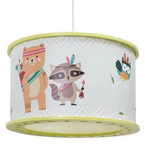 Elobra Hängelampe Kinderzimmer 'Little Indians' | Lampe Kinderzimmer im Tierdesign mit Bär, Fuchs, Eule,...