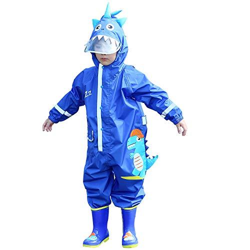 LIVACASA Tuta Impermeabile Bambini Poncho Pioggia con Cappello a Tesa Trasparente Strisce Riflettenti Ragazze Ragazzi Giacche per La Pioggia con Tasca Raincoat Impermeabile Blu M
