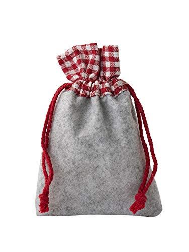Lot de 12 petits sacs en feutre avec une bordure en coton à carreaux, dimension 20 x 12 cm (hauteur x langeur), avec cordelière de serrage. Décoration pour la fete de la bière et la garden-party