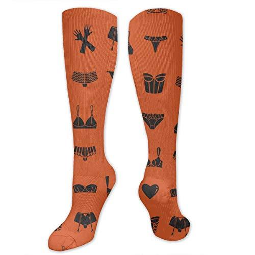 Yitlon8 Different, Bras, Underwear, Gloves, Orange Compression Socks for Women & Men - Best for Running, Athletic Sports, Crossfit, Flight Travel -Maternity Pregnancy, Shin Splints - Below Knee High