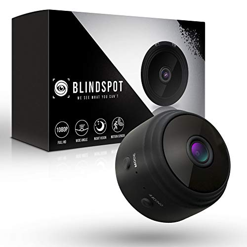 BLINDSPOT Spy Camera Wireless Hidden Home Protection Mini Camera | Portable Security Hidden Camera with 150° Lens, Motion Sensor, Night Vision & HD 1080p Recording WiFi Nanny Cam [2019 Upgraded Model]