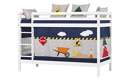 Hoppekids Basic Etagenbett mit Matratzen und Construction Vorhänge, Kiefer massiv und Baumwolle, Weiß, 208 x 101 x 145 cm