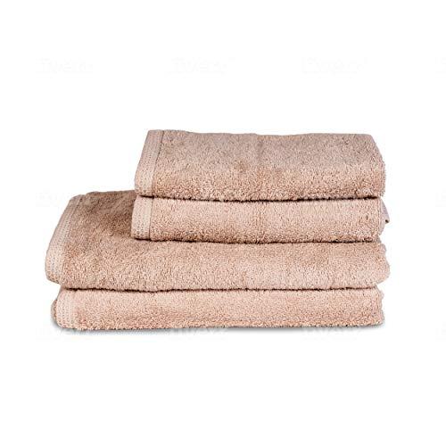 ⭐ Handtuch Set - Beige - Badetuch Set aus 100% BIO-Baumwolle 500gr - (4-Teilig) 2 Badetüchern 70x140 - 2 Handtücher 50x80 - Saugfähig, Weich und Umweltfreundlich - Hergestellt in UE - Ökologisch