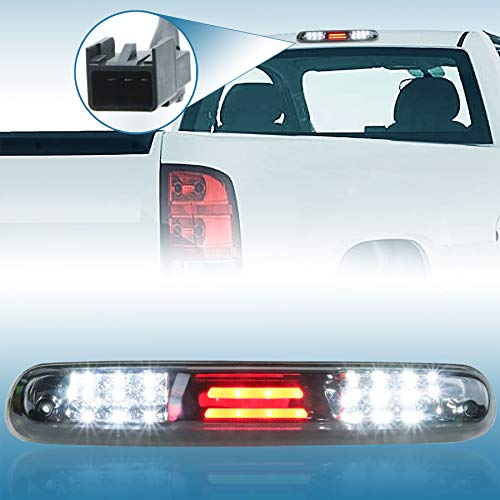 Sanzitop Fit for 07-13 Chevy Silverado & GMC Sierra 3rd Brake Light Cargo Light High Mount Brake Light Replaces 25890530 531066 531067 (Chrome Housing Smoke Lens)