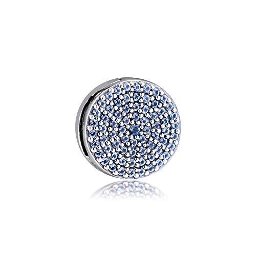QNWLKJ Ajuste Original Pandora Pulseras DIY Plata De Ley 925 Brillante Clip Azul Charms Reflexiones Charm Beads para La Fabricación De Joyas Bead Kralen