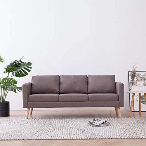 UnfadeMemory Sofa Loungesofa Polstersofa Stoff Bequeme Couch Wohnraum Sofagarnitur Wohnzimmer Sitzmöbel Büro Arbeitszimmer Stoffsofa mit Rückenkissen und Sitzkissen (Taupe, 3-Sitzer-Sofa)