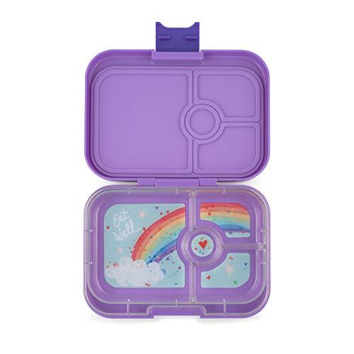 YUMBOX Panino (mit 4 Fächern) - PERSONALISIERBAR - Brotbox/Lunchbox/Bento Box mit fester Fächer-Unterteilung - auslaufsichere Brotdose für Schule - ideal zur Einschulung (Dreeamy Purple (ohne Namen))