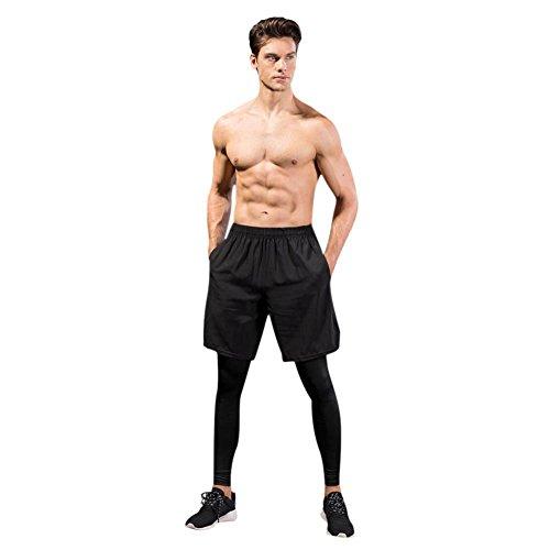 Hankyky Herren Sport Yoga Lange Hosen Zwei Stücke Elastische Freizeit Fitness Training Atmungsaktiv Schnell Trocken Bodice Stretch Leggings