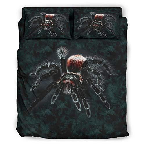 DOGCATPIG Parure de lit 4 pièces réversible et élégante - Motif couple d'araignées noires - 240 x 264 cm