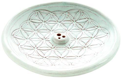 Berk KH-560-BL Räucher-Zubehör - Blume des Lebens Türkis- Räucherhalter aus Keramik