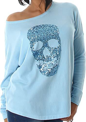 Voyelles Jela London Damen Totenkopf Pullover Glitzer Sweatshirt Skull Sweater Longsleeve Stretch Pulli Oversize Feinstrick, 34 36 38 Türkis Hellblau