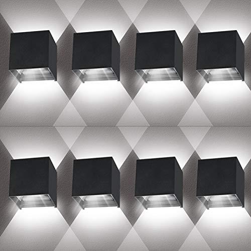 LEDMO Apliques pared LED 8 unidades, 12W aplique pared exterior IP65 Impermeable, Aplique pared interior moderna Ángulo de haz ajustable, Lámpara de pared Luz blanca fría 6000K Negro