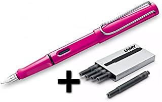 Lamy Safari Fountain Pen (13M) Pink & 5 Black Ink Cartridges