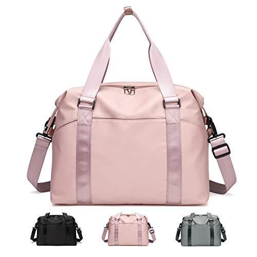 FEDUAN Bolsa de Viaje Bolsa de Deporte Original Compartimento Mojado Bolsa de Compras Equipaje de Mano Plegable Bolso Impermeable Bolsa de Ocio Mujer Rosa Rosa Viejo Pink