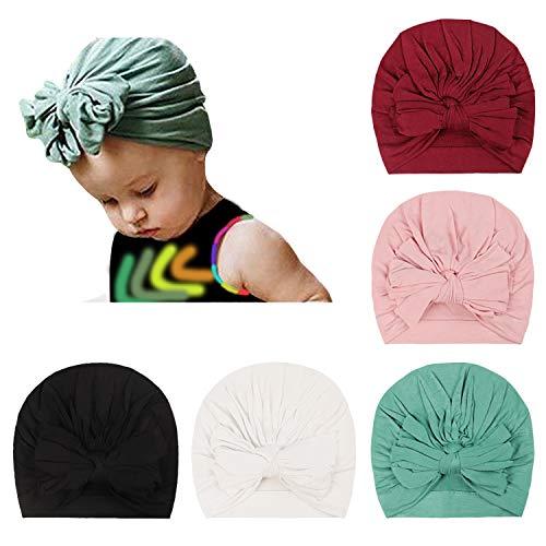 DRESHOW 5 Stück Baby Turban Hüte Turban Brötchen Knoten Baby, Kleinkind Mütze Baby Mädchen Weiche Niedliche Kleinkind Kappe