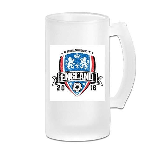 Taza de jarra de cerveza de vidrio esmerilado impresa de 16 oz - Euro 2016 Fútbol Inglaterra Escudo Blanco - Taza gráfica