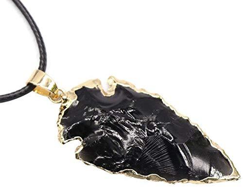 NC188 Collares Pendientes de Piedra para Mujer Borde Dorado Punta de Flecha Piedra Natural Obsidiana Cuarzo Collares Pendientes con Cadena de Cuero Adornos navideños Regalo para Mujeres