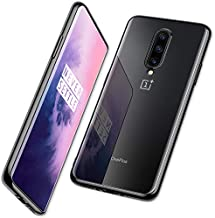 DTTO for Oneplus 7 Pro Case, Soft TPU Clear Stylish Cover All-Round Protection Anti-Falling Case with Metal Luster Edge for Oneplus 7 Pro,Dark Black