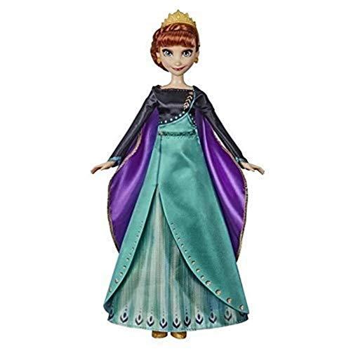 Disney Frozen 2 – Muñeca Princesa Disney Anna Cantante (francés) con Traje de Reina, 27 cm