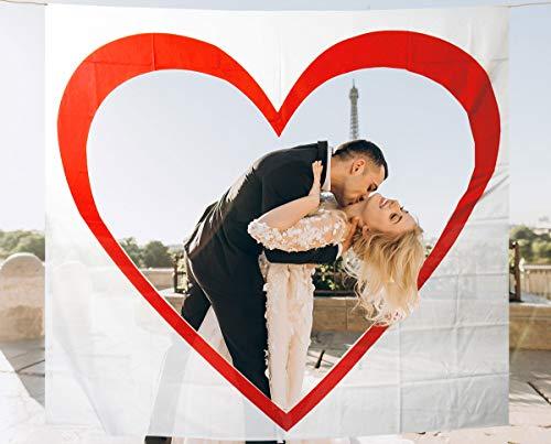MIK Funshopping Set Hochzeit-Tradition Hochzeits-Herz zum Ausschneiden - Laken mit Herzmotiv zum Zerschneiden für Braut und Bräutigam - inkl. 2 Scheren & 2 Stiften