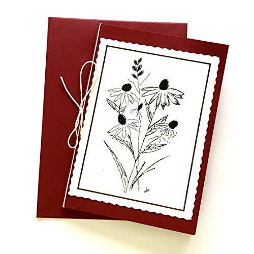 Edle Trauerkarte ohne Spruch, Beileidskarten mit Umschlag, Motiv Sonnenhut rot
