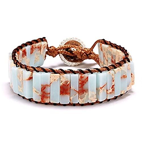 FIISH 1 Pieza de Cadena de Cuerda de Tejido Ajustable Vintage Pulsera de Cuentas de Piedra Natural para Regalo de joyería de Moda para Mujer