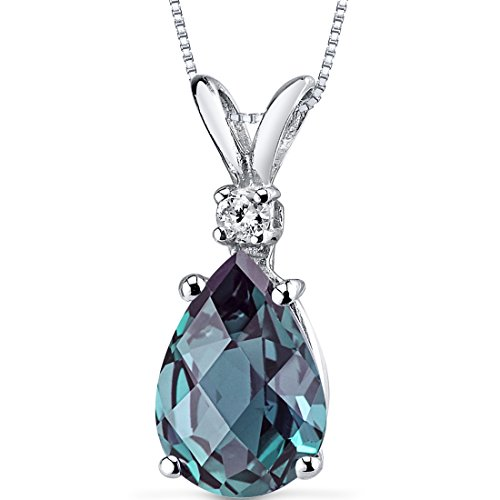 Peora Created Alexandrite with Genuine Diamond Pendant in 14K White Gold, Elegant Teardrop Solitaire, Pear Shape, 10x7mm, 2.55 Carats total