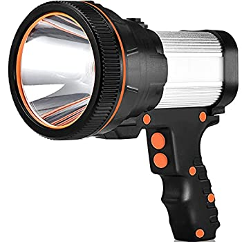 Rechargeable spotlight Super Bright 7000 Lumens LED Searchlight Handheld and Flood Camping Flashlight with Foldable Tripod with USB Output Function IPX4 Waterproof  ABS Silver   Silver ABS
