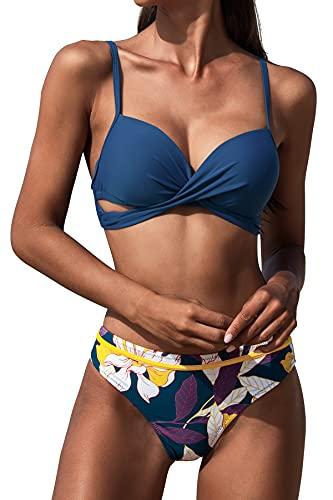CUPSHE Damen Bikini Set Wickeloptik Push Up Bikini Bademode Blumenmuster Zweiteiliger Badeanzug Swimsuit Indigo Blau S