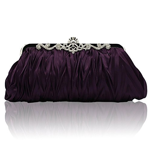 Kingluck Silk Cocktail Evening Handbags/Clutches in Gorgeous Silk More Colors Availabl (purple)