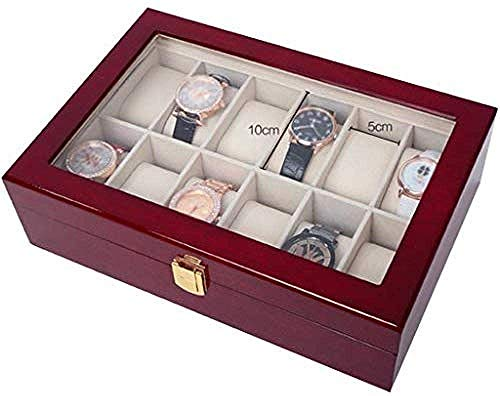 Hoge kwaliteit Vitrine Storage Box 12-Slot Houten Watch Storage Box Gift For Men Afneembare Mat Case Glass Cover Jewelry Store metalen scharnier, Storage Case for ringen, oorbellen, kettingen Gift for