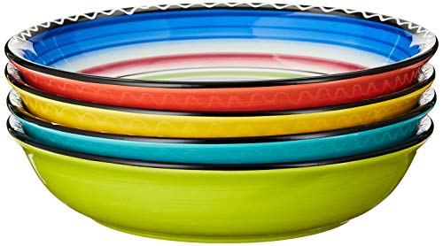 Certified International Tequila Sunrise Soup/Pasta Bowl, 9.25-Inch, Assorted Designs, Set of 4