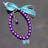Hundehalsband, Strass-Perlen-Halskette, Diamant-Halsbänder, Mascotas, Hundezubehör für kleine Hunde, Haustierbedarf, Cachorro, Lila, L