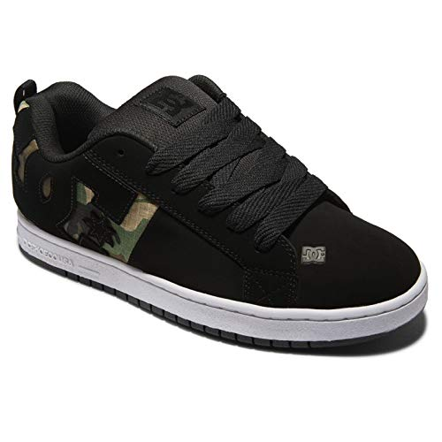 DC mens Court Graffik Sq Skate Shoe, Black/Camo Print, 7 US
