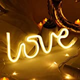 Love Neon Sign Light Decor - USB Battery Operated Led Lights Neon Signs for Bedroom Wall Girls Room Kids Room Teen Party Christmas Birthday Home Decorations (Warm-White)