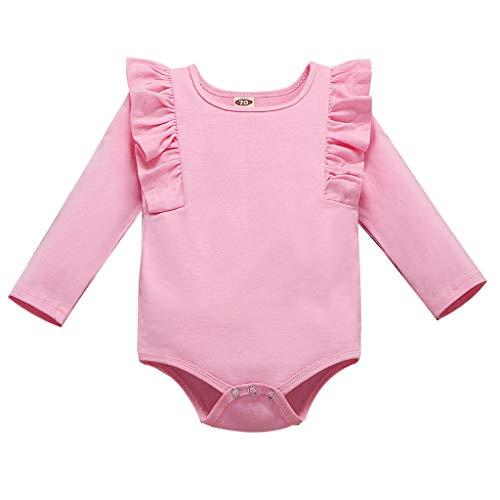 Kobay Neugeborene Säuglinge Baby Mädchen Solid Fly Sleeve Strampler Rüschen Bodysuit Outfit Kinder Langarm Solid Color Flying Sleeve Halfter (3-24M)