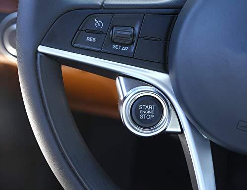 Auto-broy ABS Chromé Mat Intérieur Autocollant pour Commencer d'arrêt Moteur Trim pour Giulia Stelvio 2017