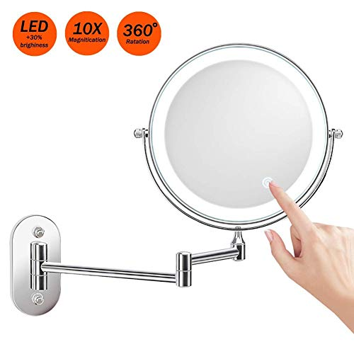 Kosmetikspiegel 10-Fach Wandmontage LED Touchscreen Dimmbarer Schminkspiegel Rasierspiegel Vergrößerungsspiegel Make-up Spiegel 360°Schwenkbar Faltbar