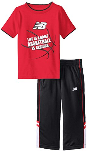 New Balance Little Boys' 2 Piece Tee and Tricot Pant Set, Black/Red, 2T