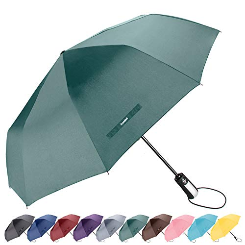Compact Travel Umbrella Windproof Reinforced Canopy 8 Ribs Umbrella Auto Open And Close Button Cat Or Dog Brown Paw Prints Seamless Customized